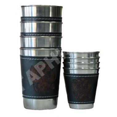 Набор из 4 стаканов с кожаными вставками большой в кожаном чехле