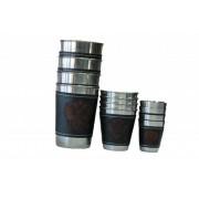 Набор из 4 стаканов с кожаными вставками маленький в кожаном чехле
